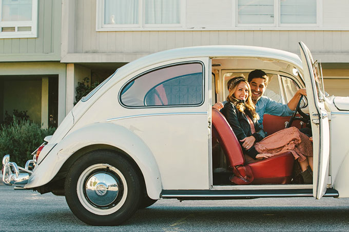 vintage VW Bug engagement session | D.Lillian Photography | Glamour & Grace