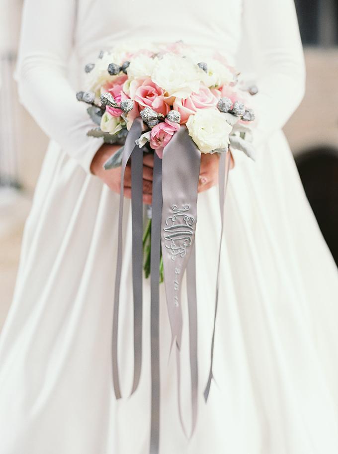 monogram ribbon bouquet | JoPhoto | Glamour & Grace