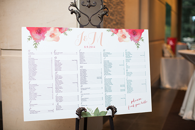 floral seating chart | Cory + Jackie | Glamour & Grace