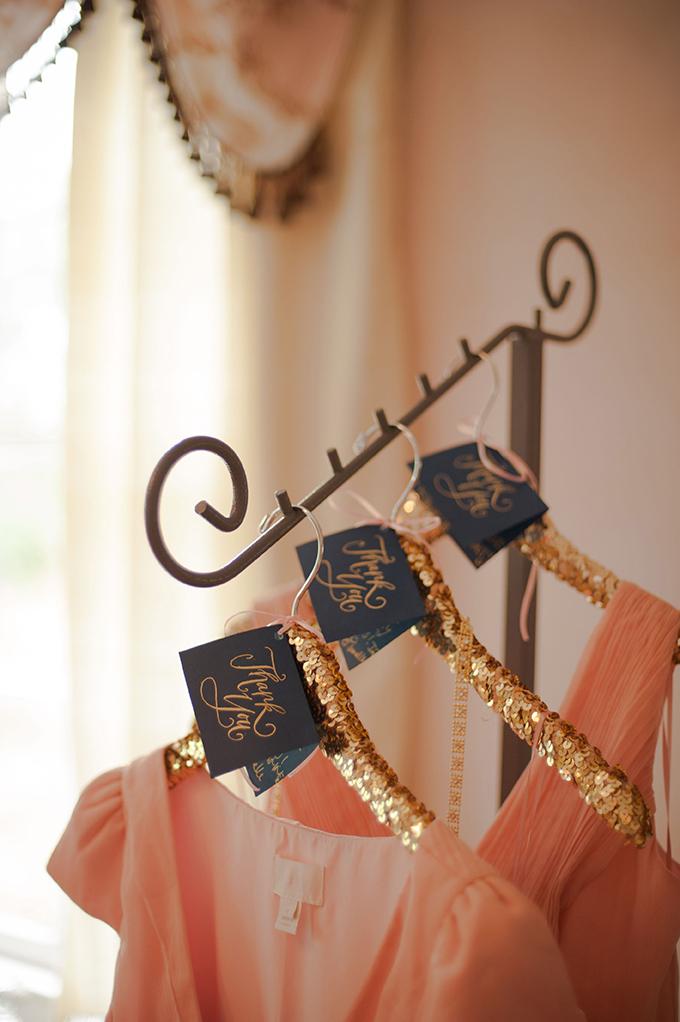sequin bridesmaid hangers | Stephanie A Smith Photography | Glamour & Grace