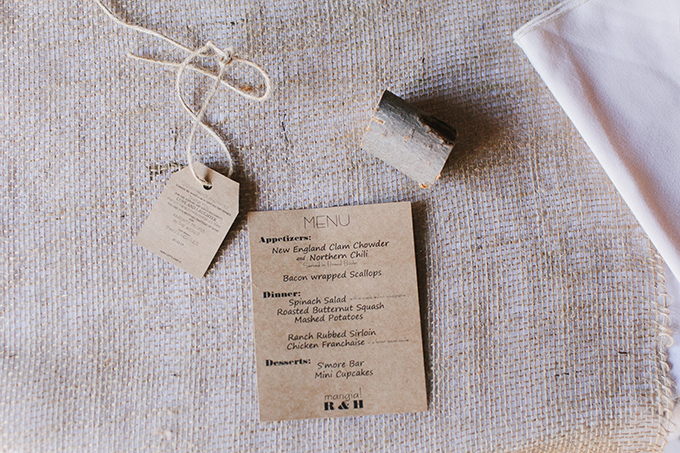 craft paper menu   Jessica Connery Photography   Glamour & Grace