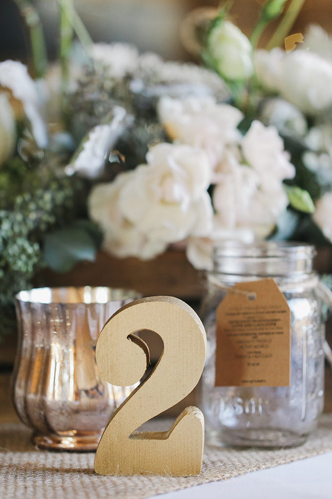 gold wood table numbers   Jessica Connery Photography   Glamour & Grace