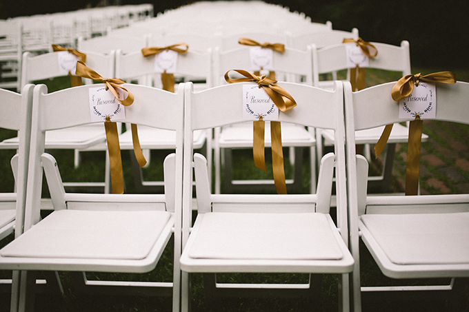 reserved ceremony chairs | Peach Plum Pear Photo | Glamour & Grace