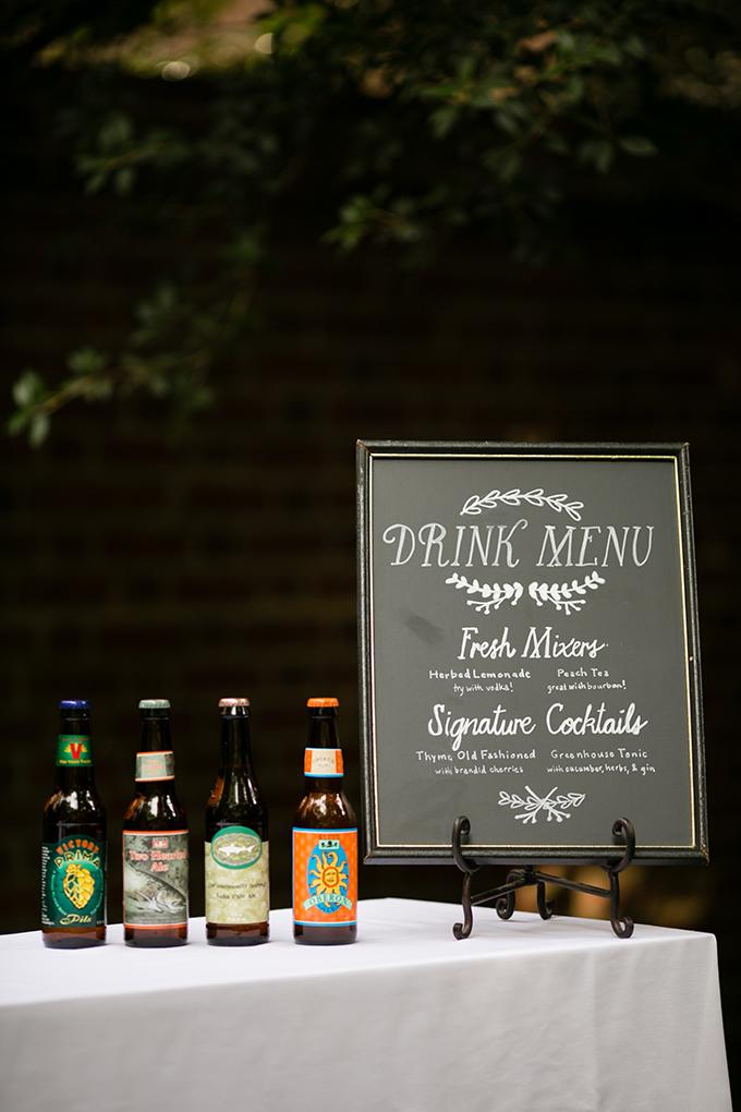 drink menu | Peach Plum Pear Photo | Glamour & Grace