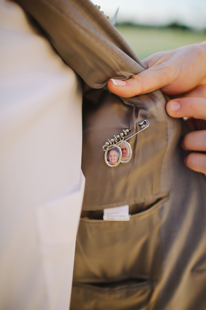 groom with grandparents pinned to inside of suit | Shea Christine Photography | Glamour & Grace