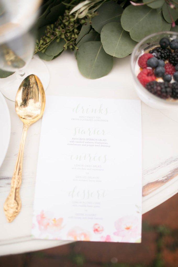 floral menu | V.A. Photography | Glamour & Grace