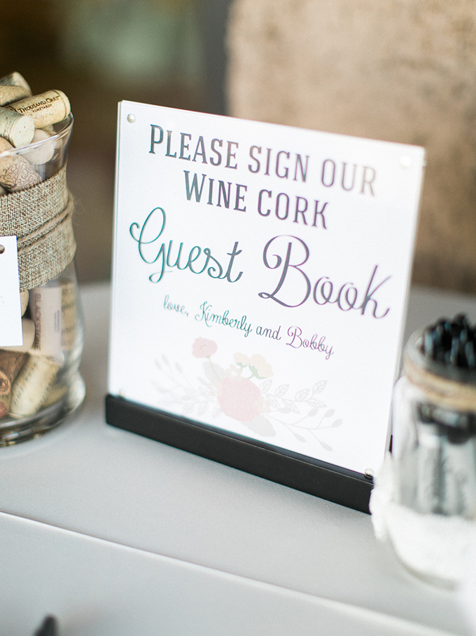 wine cork guest book | Rachel Solomon Photography | Glamour & Grace
