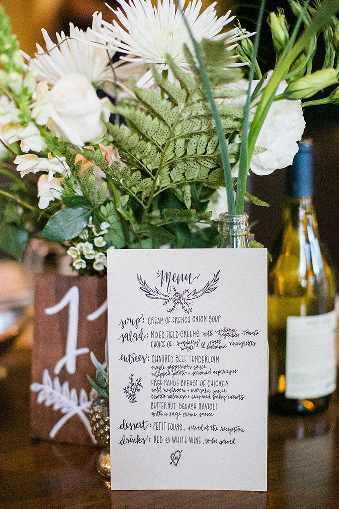 calligraphy menu | Anna Marks Photography | Glamour & Grace