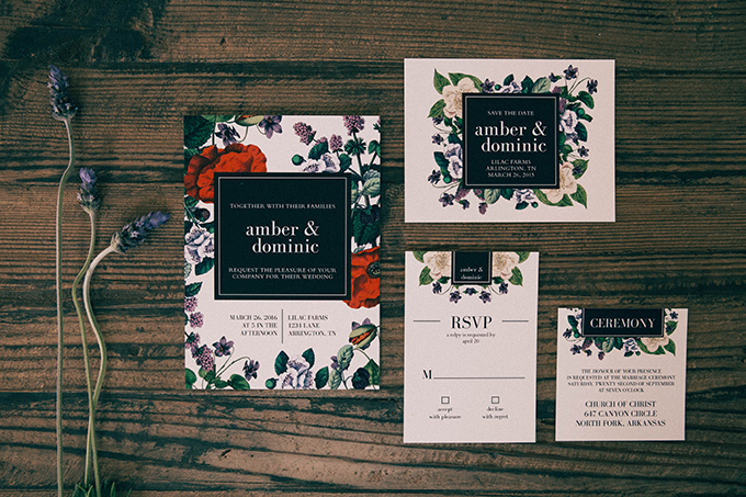 wedding invitations from Basic Invite | Glamour & Grace