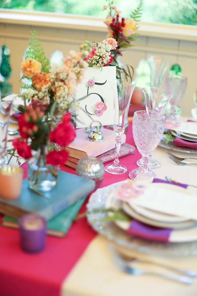 floral table number | Shelley Dee Photography | Glamour & Grace
