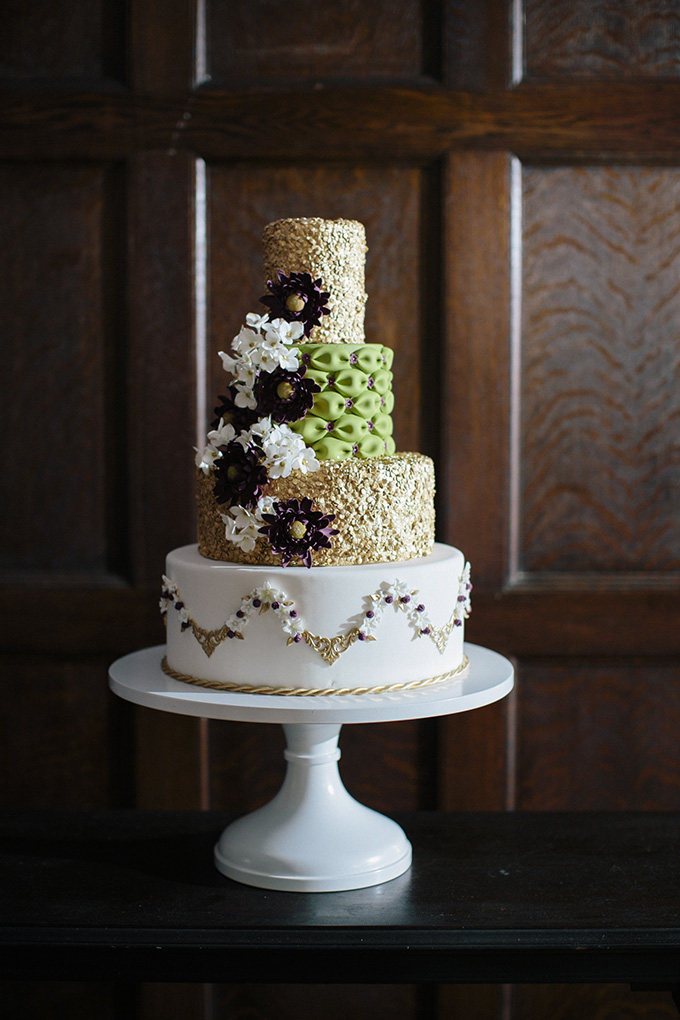 stunning gold and burgundy cake | Kate Preftakes Photography | Glamour & Grace