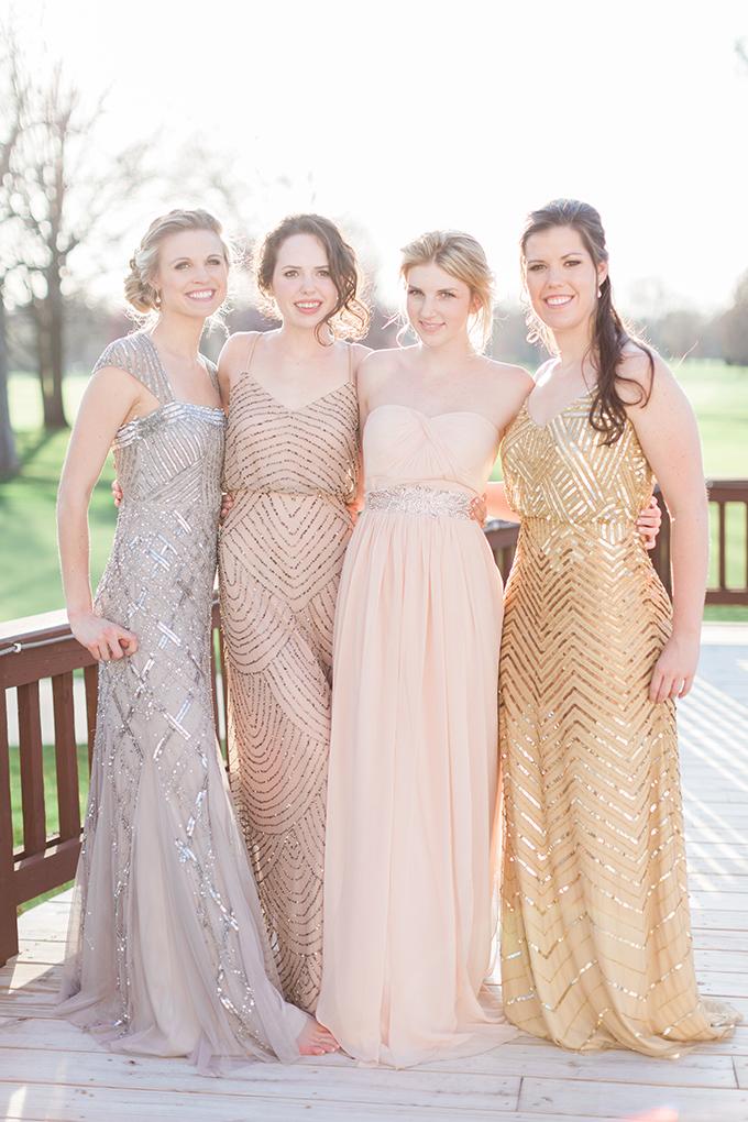 stunning metallic bridesmaids | Cory & Jackie Wedding Photographers | Glamour & Grace