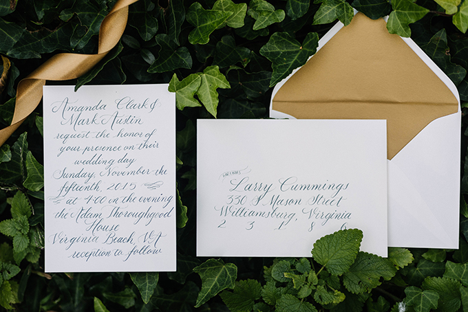 #calligraphy wedding invitation | Dani White Photography | Glamour & Grace