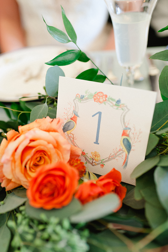 watercolor table number | Roots of Life Photography | Glamour & Grace