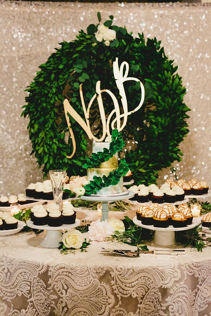 dessert table with monogram wreath | Milou + Olin Photography | Glamour & Grace