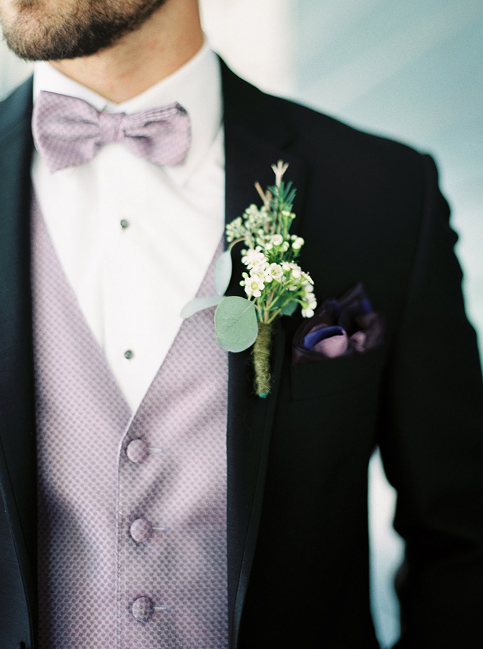 purple suit and rustic boutonniere | Noi Tran Photography | Glamour & Grace