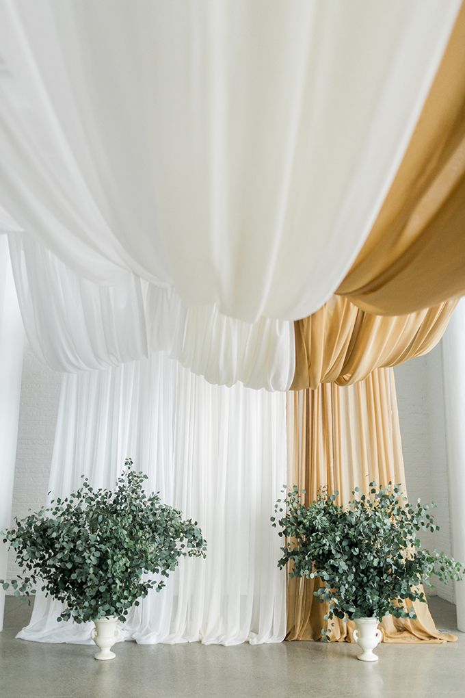 drapped ceremony backdrop | Alexis June Weddings | Glamour & Grace