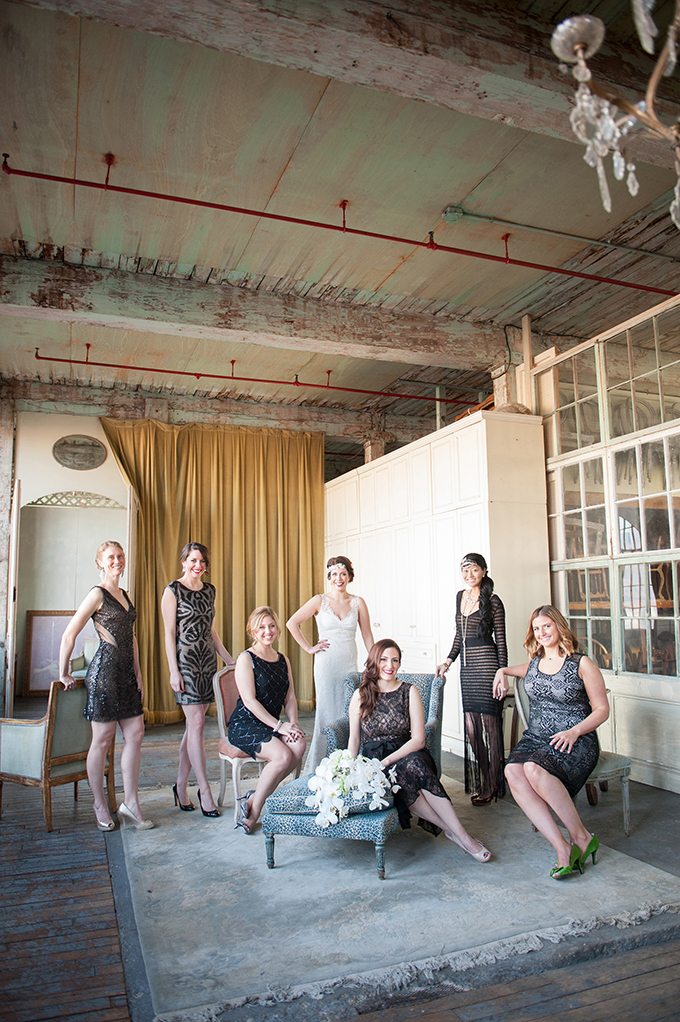 art deco bridesmaids | Mikkel Paige Photography | Glamour & Grace