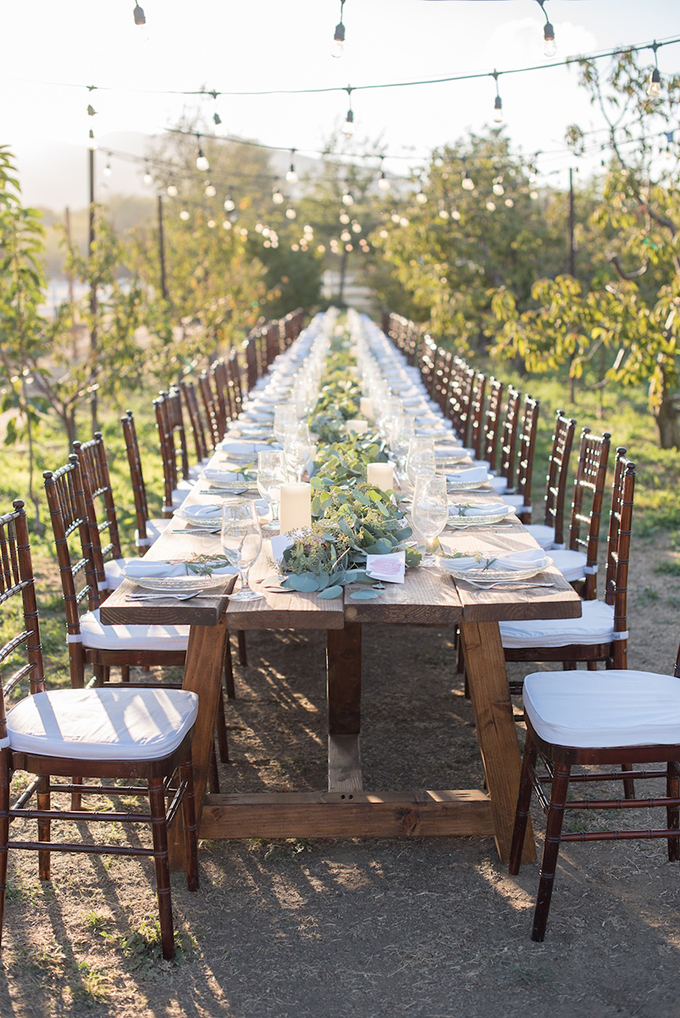 farm table with greenery garland | Megan Hayes Photography | Glamour & Grace