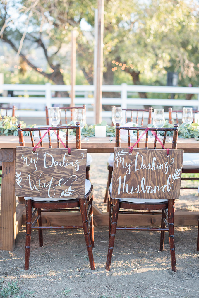 my darling wife, my dashing husband chair signs | Megan Hayes Photography | Glamour & Grace