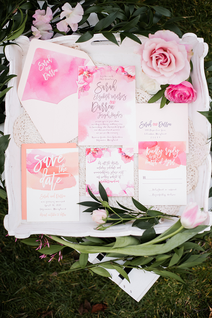 pink watercolor invitation | Meghan Rose Photography | Glamour & Grace