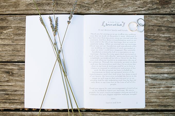 ceremony program | Smith House Photography | Glamour & Grace