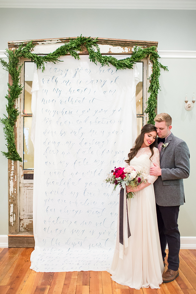 """carry your heart"" calligraphy ceremony backdrop 