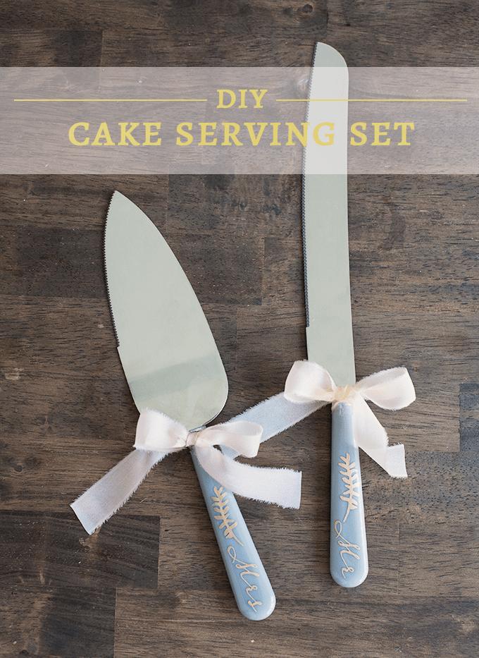 DIY Mr and Mrs Cake Serving Set