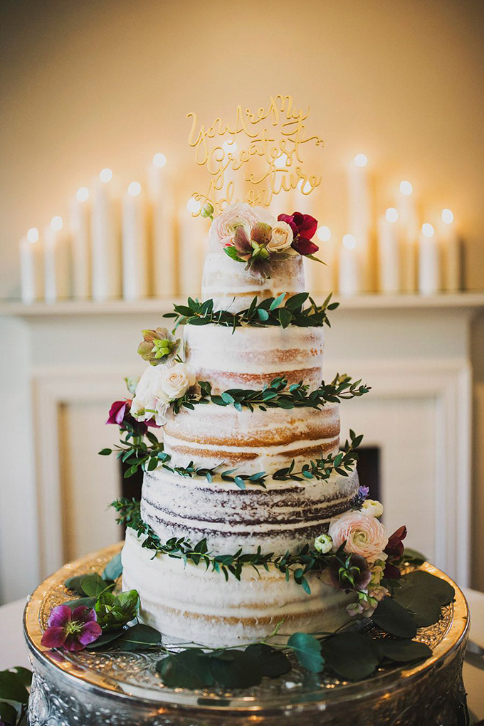romantic naked cake | Ariel Renae Photo | Glamour & Grace
