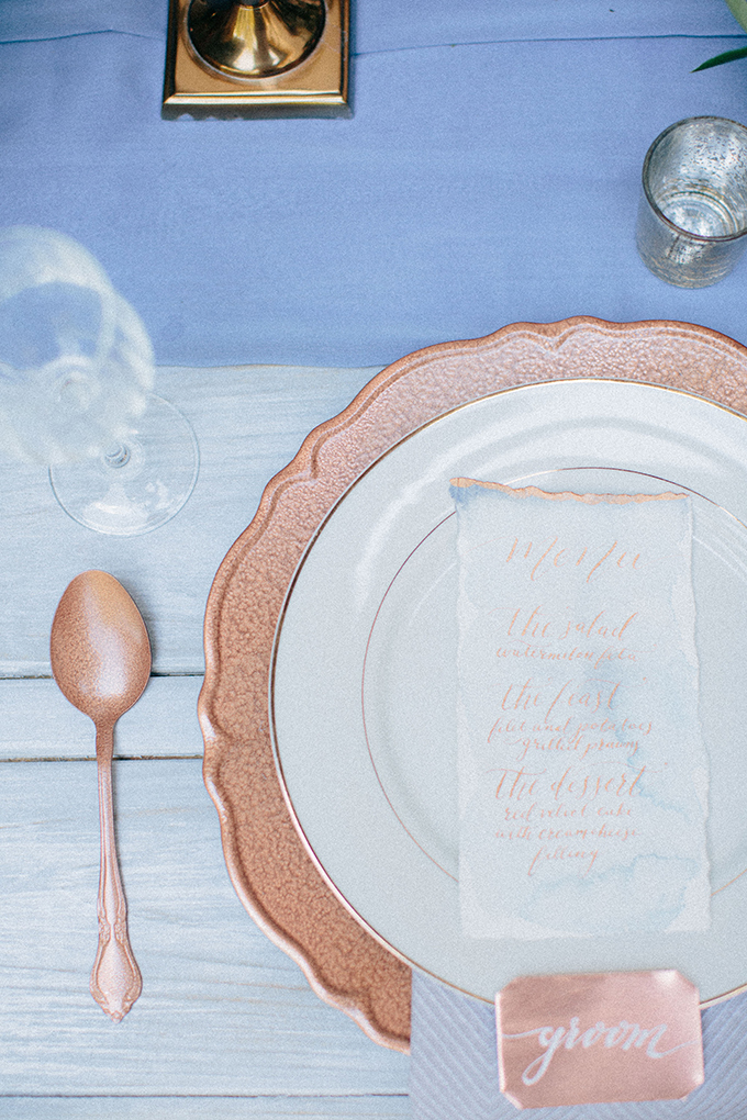 copper calligraphy place setting | Ais Portraits | Glamour & Grace