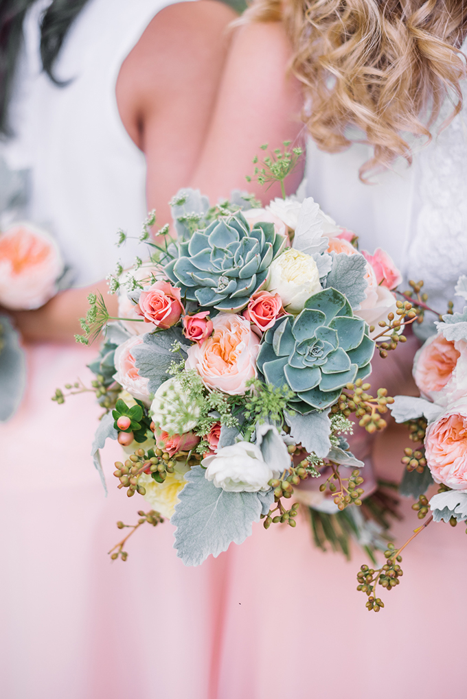 peach succulent bouquet | Karyn Johnson Photography on Glamour & Grace