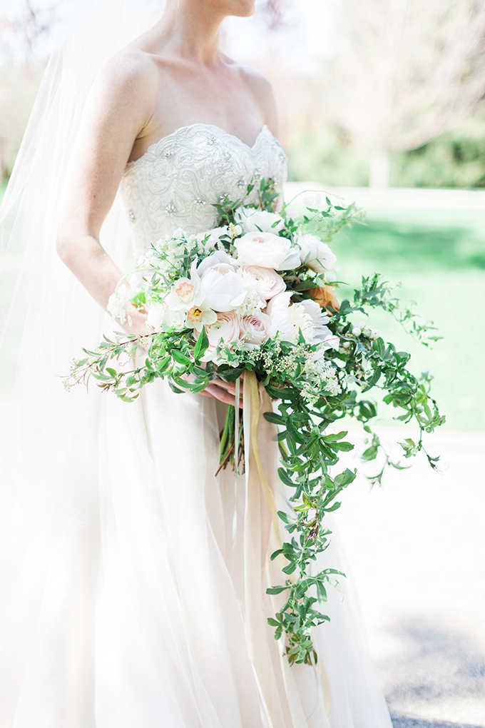 dreamy white and greenery bouquet | Cory and Jackie on Glamour & Grace
