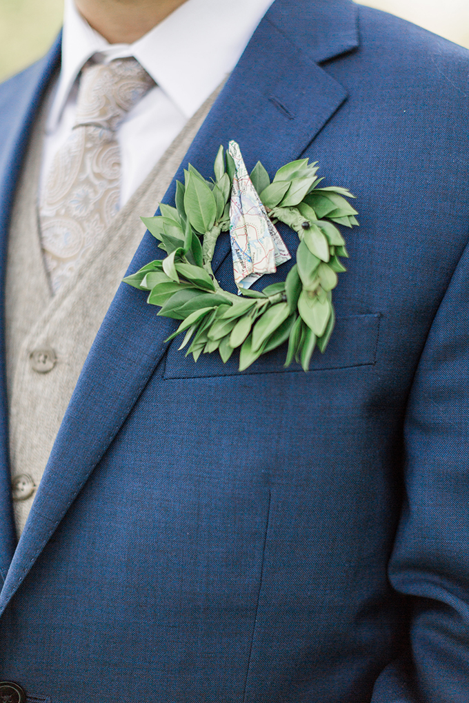 paper airplane boutonniere | Megan Lee Photography | Glamour & Grace