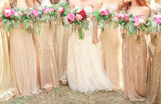 gold sequin mismatched bridesmaid dresses | Shara Jo Photography | Glamour & Grace