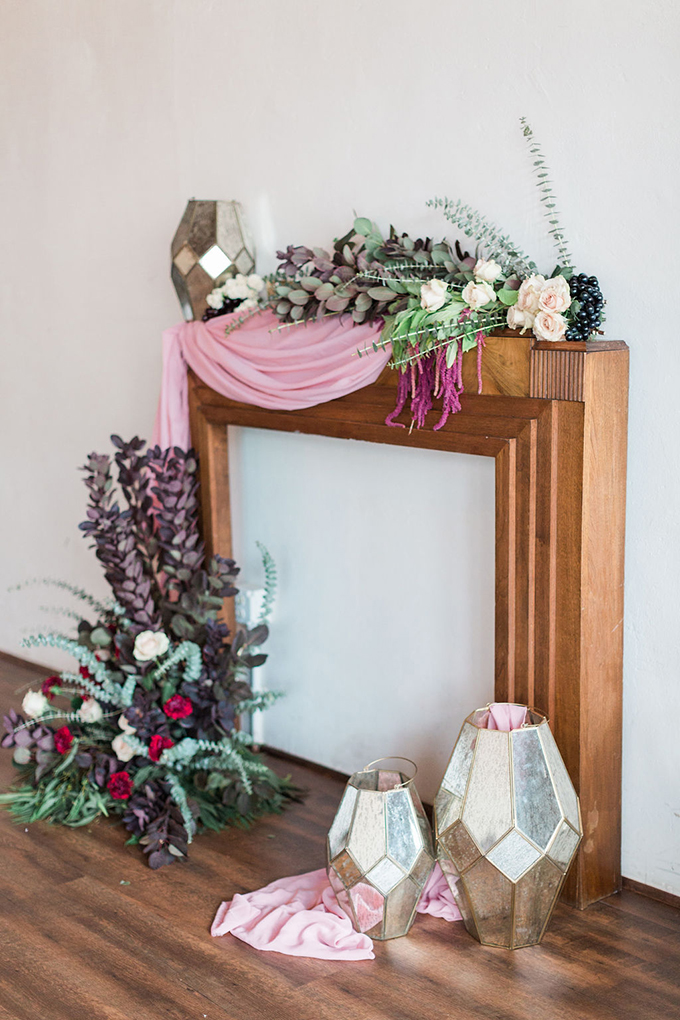 fireplace mantle ceremony altar | Nicole Flores Photography Co. | Glamour & Grace