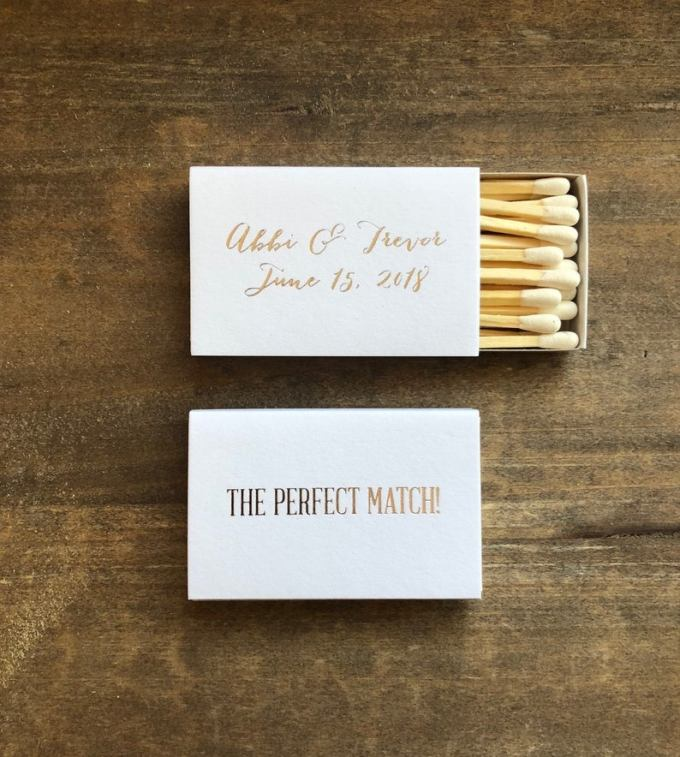 The Perfect Match Personalized Matchbox Favors
