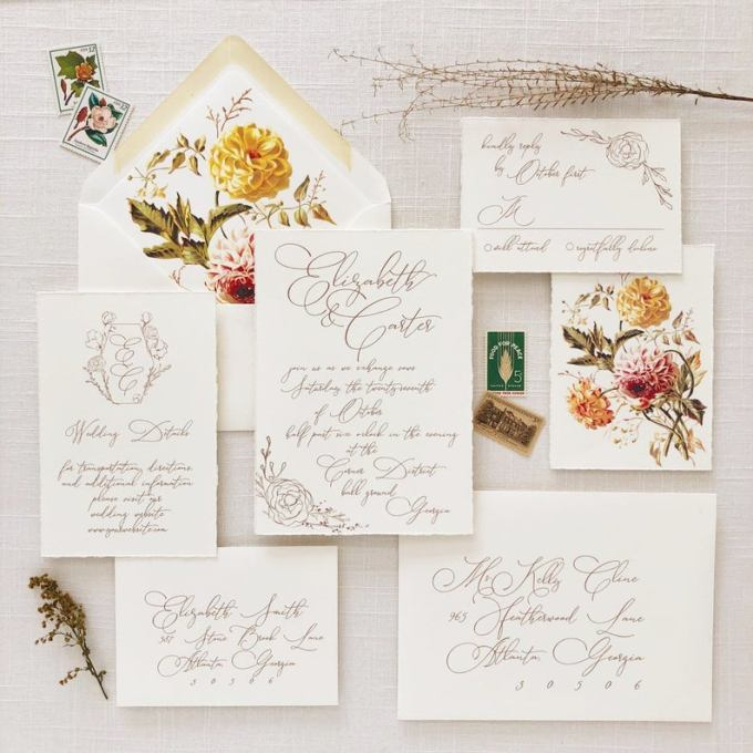 Modern Floral Print Calligraphy Wedding Invitation