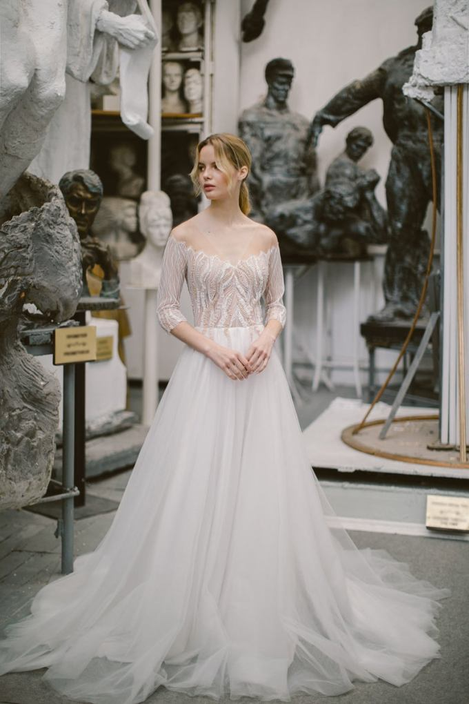 Ivory Tulle and Lace Off the Shoulder Wedding dress