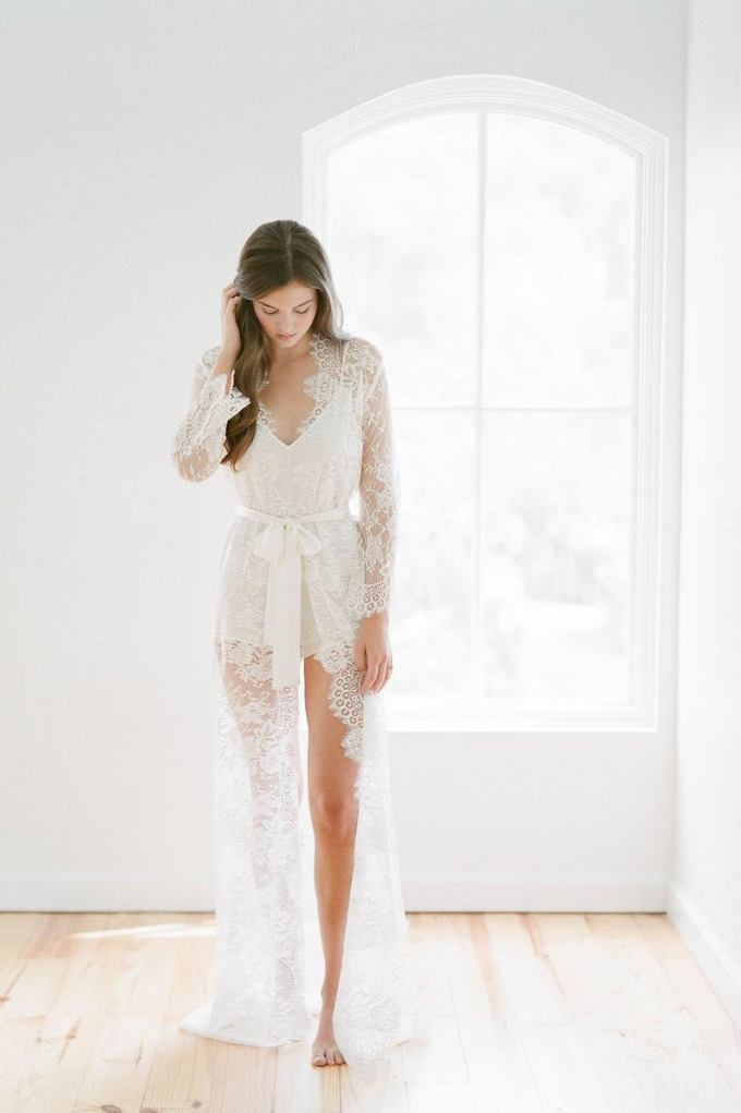 French Lace Robe Bridal Long Dressing Gown