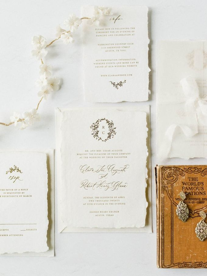Gold Wreath Calligraphy Invitation Suite