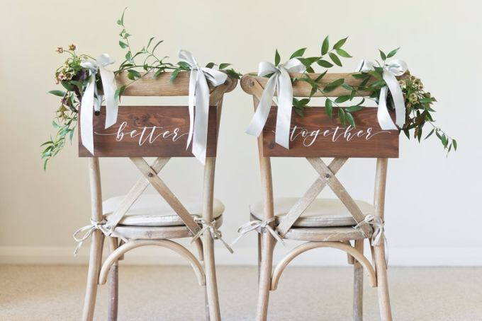 Better Together Wood Wedding Chair Signs