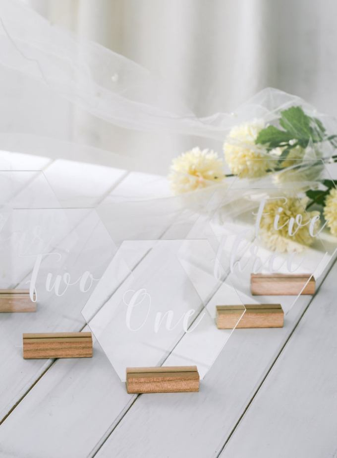 Hexagon Table number with stand, acrylic wedding table number