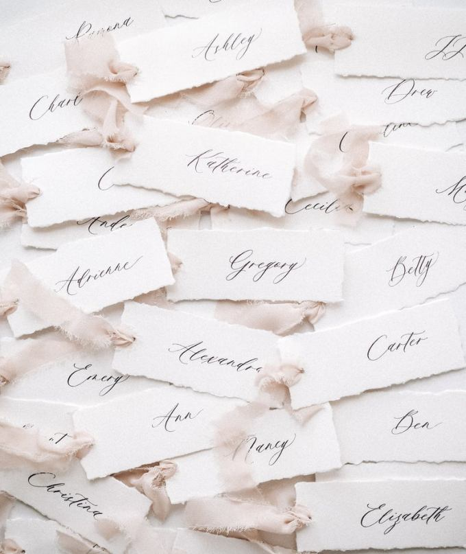 Place Cards with Hand Torn Edges and Silk Ribbon