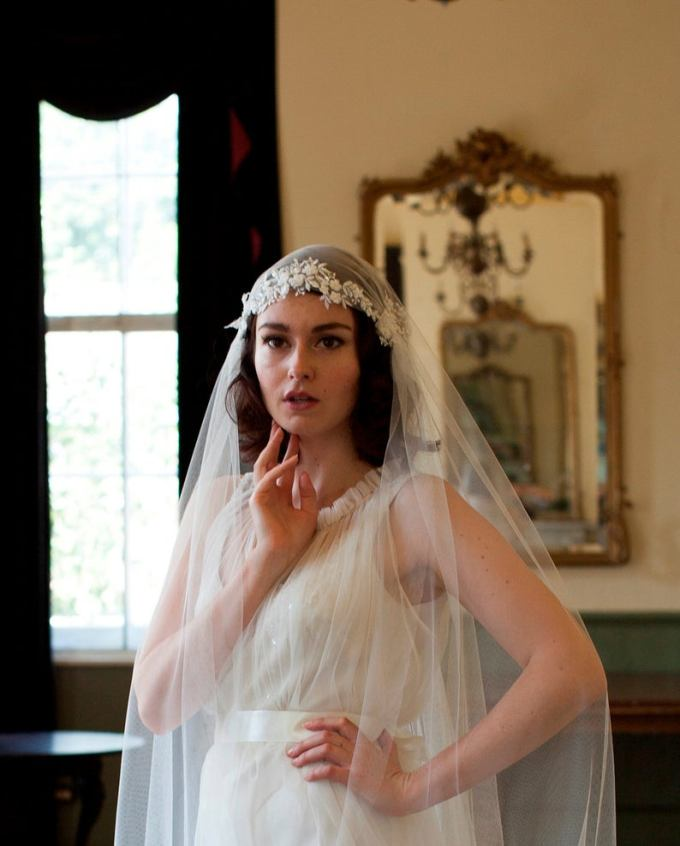 Beaded Floral Lace Juliet Cap Veil