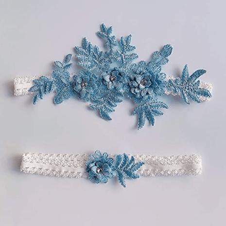 Blue Lace Garter Set