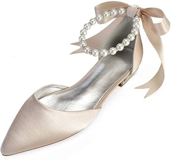 Satin Pearls Wedding Flats