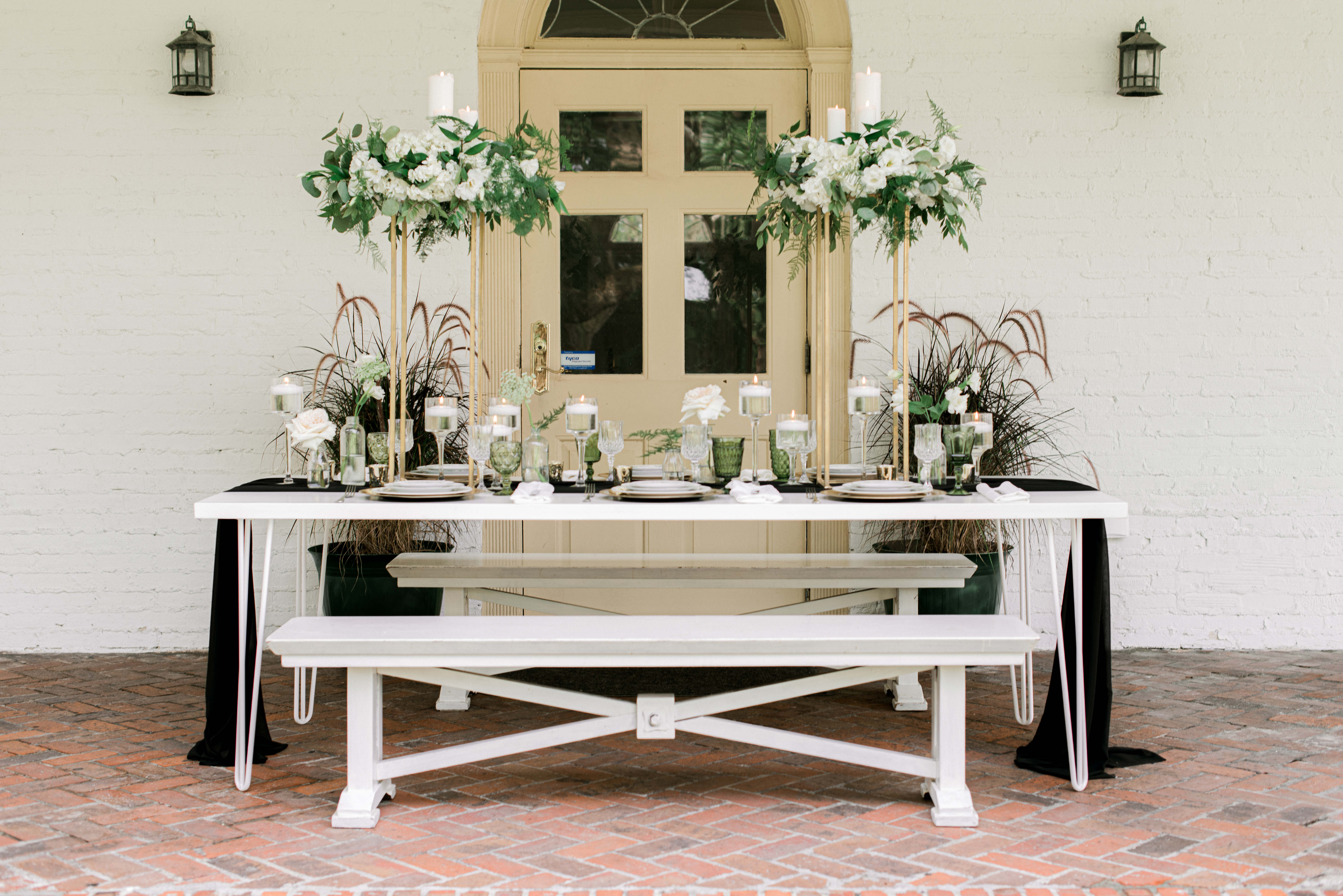 White and Green wedding Reception Table SSAA