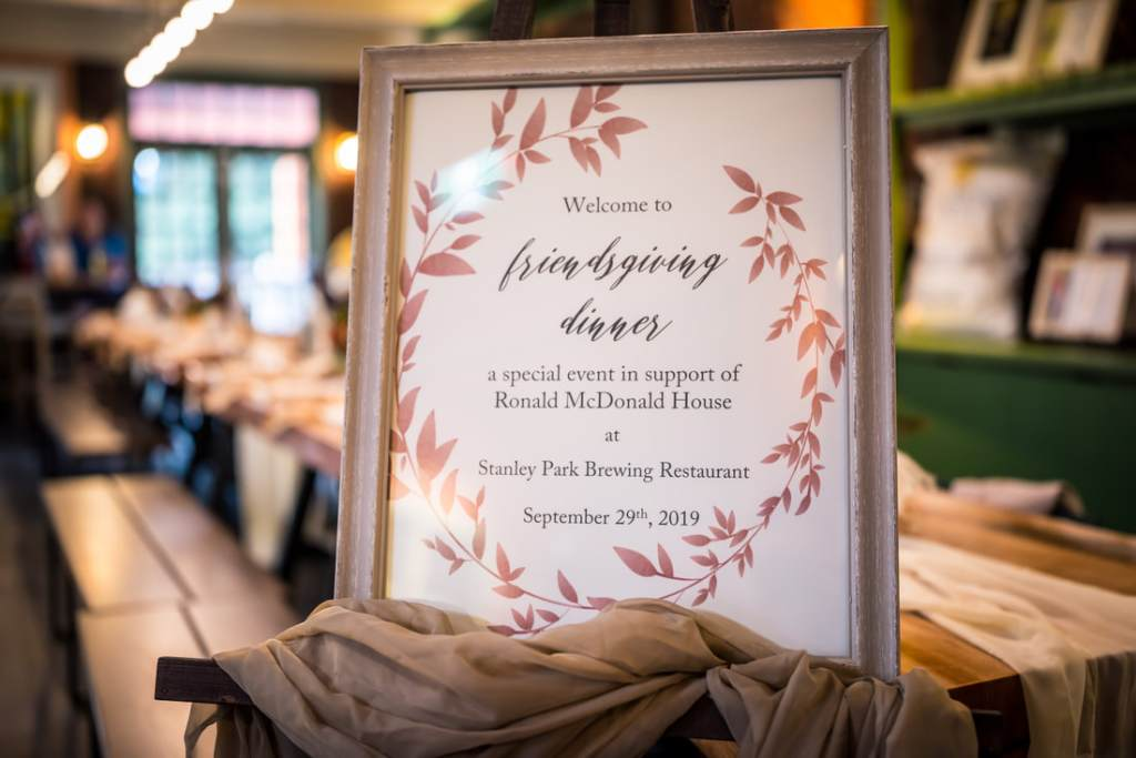 Friendsgiving and thanksgiving  welcome sign for Glamoruaspirit home for dinner fundraiser for Ronald McDonald House B.C and Yukon by Taffete Design for fall