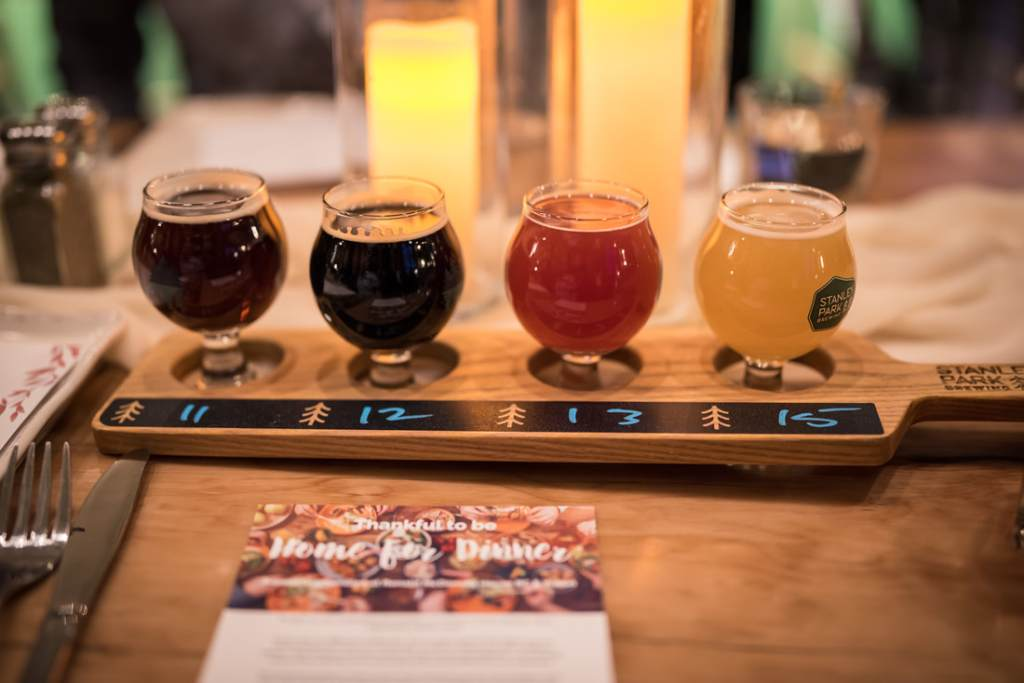 Celebrating thanksgiving and Friendsgiving with Beer Flights at Stanley Park Brewing Company for Glamouraspirit charity dinner to benefit home for dinner for Ronald McDonald House B.C and Yukon