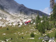 Portaging a canoe into the mountains! Above Mirror Lake, WY. Now that is a Mountain Man!